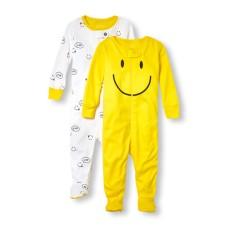 ชุดนอนเด็ก Baby And Toddler Girls Long Sleeve Smiley Family Love Footed Stretchie 2-Pack