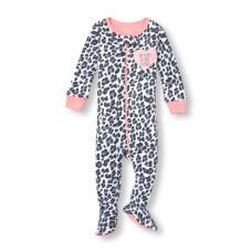 ชุดนอนเด็ก Baby And Toddler Girls Long Sleeve 'My Heart Belongs To Daddy' Leopard Print Stretchie