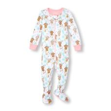 ชุดนอนเด็ก Baby And Toddler Girls Long Sleeve Monkey Family Love Print Stretchie
