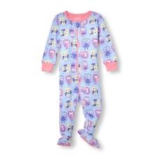 ชุดนอนเด็ก Baby And Toddler Girls Long Sleeve Owl Print Stretchie