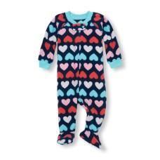 ชุดนอนเด็ก Baby And Toddler Girls Long Sleeve Heart Print Footed One-Piece Sleeper