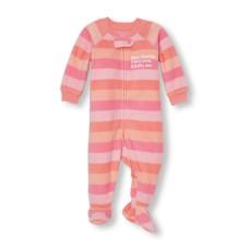 ชุดนอนเด็ก Baby And Toddler Girls Long Sleeve 'Dear Family I Love You XXOO Me' Striped Footed Sleeper