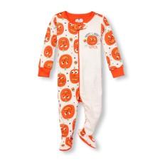 ชุดนอนเด็ก Unisex Baby And Toddler Long Sleeve 'Mommy And Daddy's Little Pumpkin' Halloween Split Print Stretchie