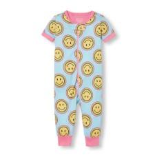 ชุดนอนเด็ก Baby Girls Short Sleeve Rainbow Smiley Print Stretchie