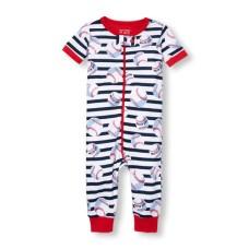 ชุดนอนเด็ก Baby And Toddler Boys Short Sleeve 'Dad's All-Star' Baseball Striped Stretchie