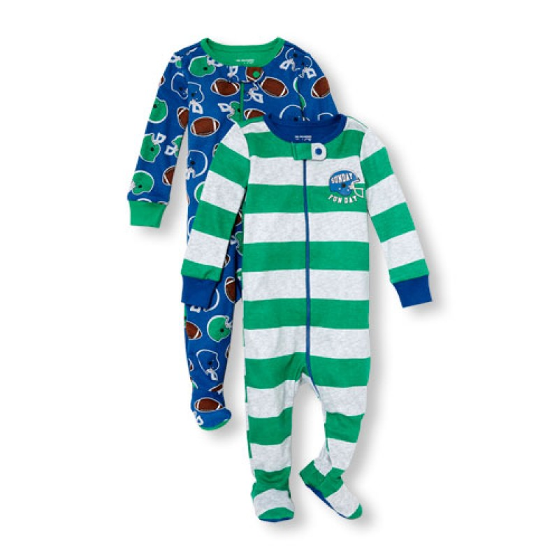 ชุดนอนเด็ก Baby And Toddler Boys Long Sleeve 'Sunday Funday' Football Print Stretchie 2-Pack