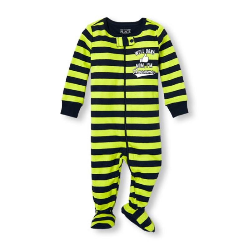 ชุดนอนเด็ก Baby And Toddler Boys Long Sleeve 'Well Done Mom I'm Awesome' Stripe Stretchie