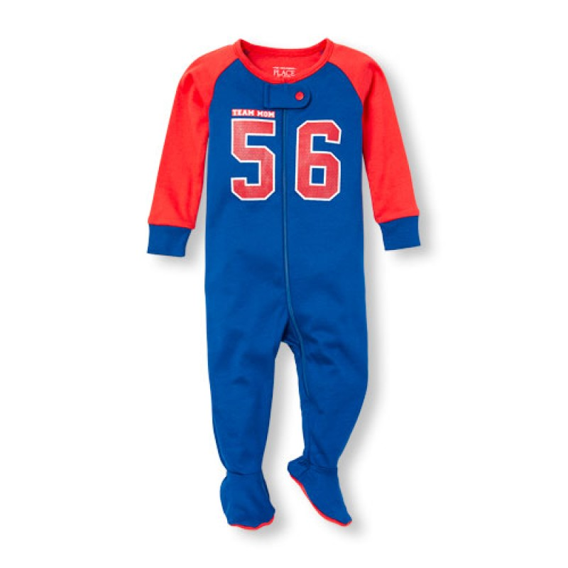 ชุดนอนเด็ก Baby And Toddler Boys Long Sleeve 'Team Mom 56' Jersey Stretchie