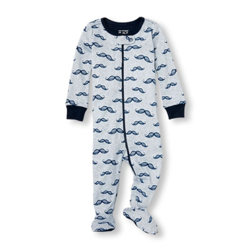 ชุดนอนเด็ก Baby And Toddler Boys Long Sleeve Mustache Print Stretchie