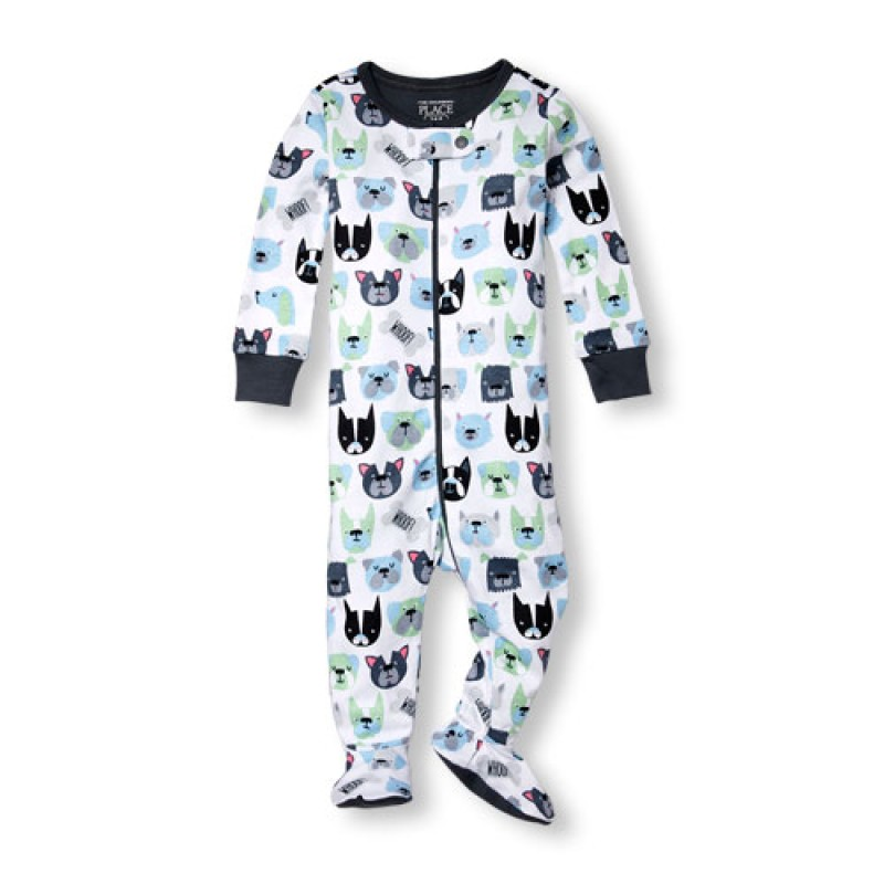 ชุดนอนเด็ก Baby And Toddler Boys Long Sleeve 'Whoof' Doggy Print Stretchie
