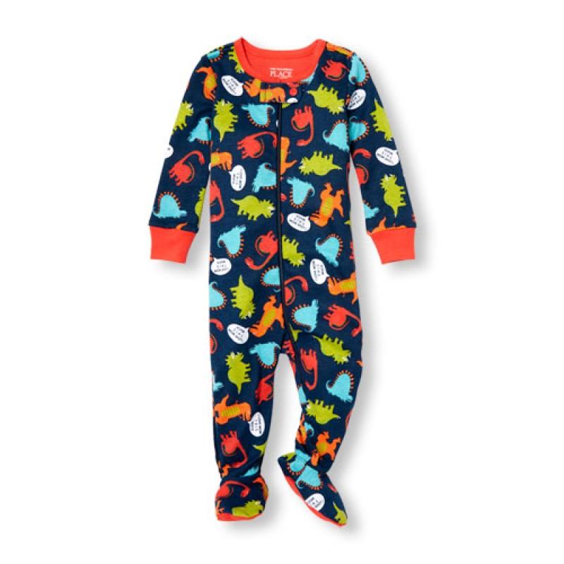 ชุดนอนเด็ก Baby And Toddler Boys Long Sleeve 'I Love Mom This Much' Dino Print Stretchie