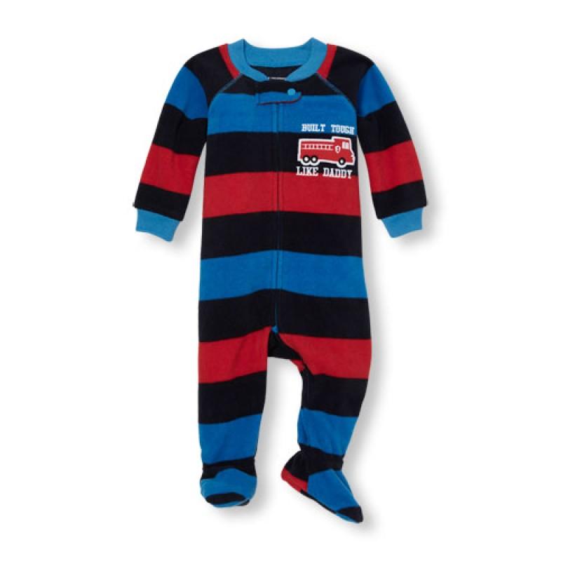 ชุดนอนเด็ก Baby And Toddler Boys Long Sleeve 'Built Tough Like Daddy' Striped Footed One-Piece Sleeper
