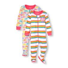 ชุดนอนเด็ก Baby And Toddler Girls Long Sleeve Rainbow Family Love Stripe And Printed Stretchie 2-Pack