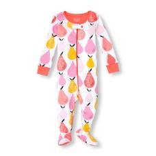 ชุดนอนเด็ก Baby And Toddler Girls Long Sleeve 'Mom And I Make The Perfect Pair' Pear Print Stretchie