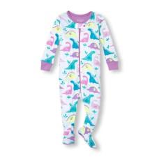 ชุดนอนเด็ก Baby And Toddler Girls Long Sleeve Dino Print Stretchie
