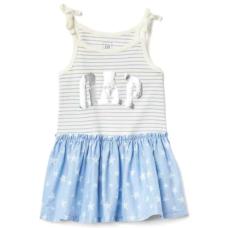 เสื้อผ้าเด็ก GAP Foil logo bow dress