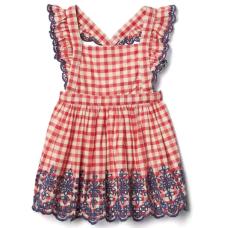 เสื้อผ้าเด็ก GAP Gingham eyelet flutter dress
