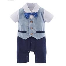 เสื้อผ้าเด็ก Mombebe Baby Boys' Tuxedo Gentleman Romper Outfit with Bowknot