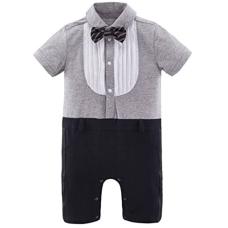 เสื้อผ้าเด็ก Mombebe Baby Boys' Tuxedo Gentleman Romper Jumpsuit with Bow Tie
