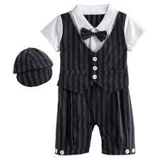 เสื้อผ้าเด็ก Mombebe Baby Boys' Gentleman Romper Suit Set with Hat and Bow Tie