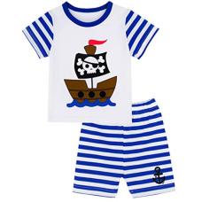 เสื้อผ้าเด็ก Mombebe Baby Boys' 2 Piece Pirate Stripe Short Clothing Set