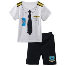 เสื้อผ้าเด็ก Mombebe Baby Boys' 2 Pieces Pilot Costume Short Set
