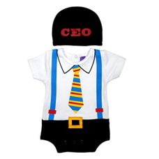 เสื้อผ้าเด็ก Sozo Baby-Boys Newborn CEO Bodysuit and Cap Set