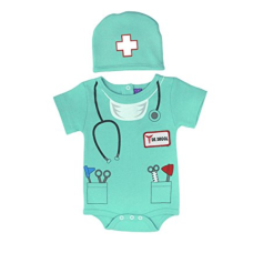 เสื้อผ้าเด็ก Sozo Unisex-Baby Newborn Doctor Bodysuit and Cap Set